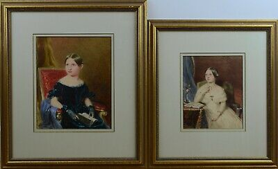 Fine Antique 19th Century Pair Of Portraits Watercolour Paintings BASEBE
