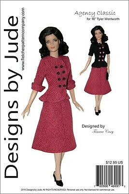 "Agency Classic Doll Clothes Sewing Pattern 16"" Tyler Wentworth Dolls Tonner"