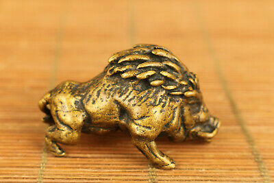 Rare Chinese old copper handmade wild boar statue figure hand piece