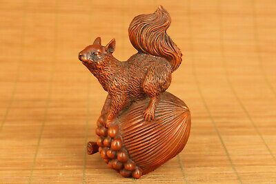 Antique Japanese old boxwood hand carved squirrel figure statue netsuke gift