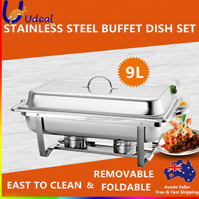 9L Bain Marie Bow Chafing Dish Set Buffet Pan Food Warmer Stainless Steel AU
