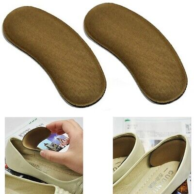 2Pair Beige Extra Sticky Fabric Shoe Heel Inserts Insoles Pads Cushion Grips UK