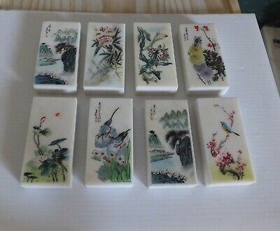 8 Nice Vintage Chinese Marble Stone Hand Painted Paper Weights