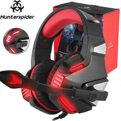 Hunterspider Stereo Bass Surround Mic Gaming Headset for PC PS4 Xbox One Switch