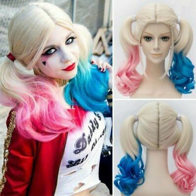 AU Suicide Squad Harley Quinn Full Wig Gradient Halloween Hair Cosplay Costume