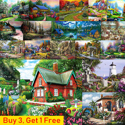5D Diamond Painting Kits Cross-Stitching Embroidery Landscape Arts Crafts +Tools