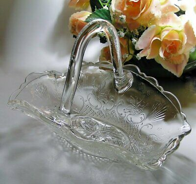 Antique VICTORIAN Pressed GLASS BASKET suit CANDY or Trinket DISH ~ Pretty Piece