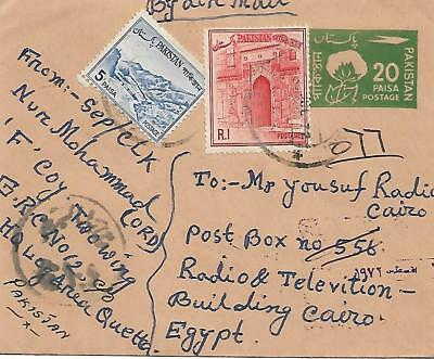 PAKISTAN 20P postal stationery with uprated stamps to Egypt ref 101