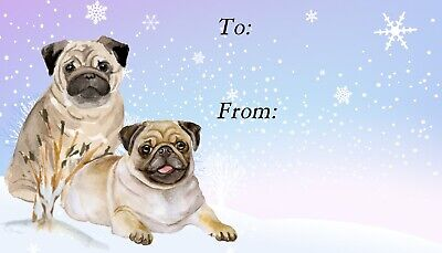 No 4 Pug Dog Christmas Labels by Starprint