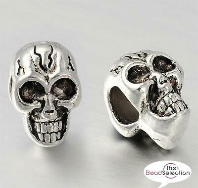 4 TIBETAN SILVER SKULL SPACER BEADS CHARMS 12mm LARGE 5mm HOLE TS97