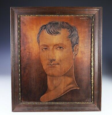 Antique Carved Engraved Wood Portrait of Napoleon Dated 1833 - R Marshall