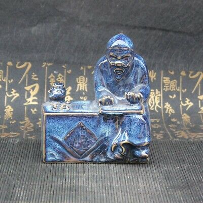 China Old Porcelain Blue glaze figure Porcelain bean-counter