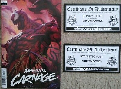 Absolute Carnage #1 Comic SIGNED by DONNY CATES & RYAN STEGMAN / ARTGERM VARIANT