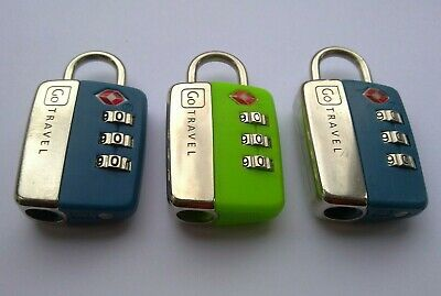 3 x GO TRAVEL TSA APPROVED COMBINATION LUGGAGE LOCKS - BLUE, GREEN