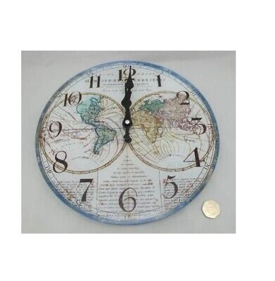 Olde Worlde Mappe Glass Wall Clock - Map Design Vintage Home Decor