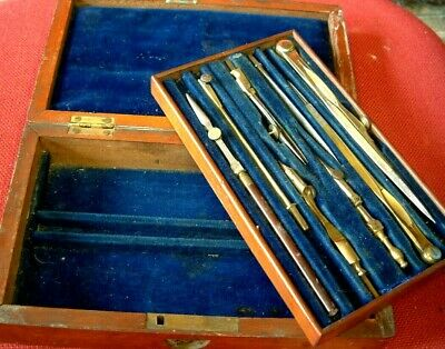 Antique Victorian Engineers Architect  Drawing Instruments In Mahogany Box