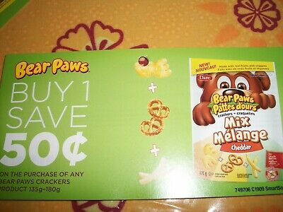Coupons Canada-- 10  X  .50 On The Purchase Of Any Bear Paws Crackers 135G-180G