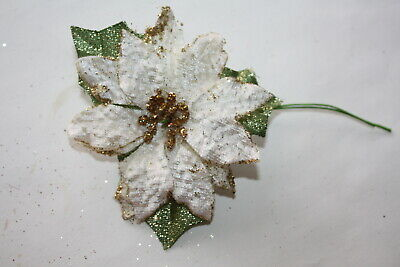 6 x SMALL IVORY & GOLD GLITTER SATIN POINSETTIA FLOWER HEADS 6cm ON WIRED STEMS