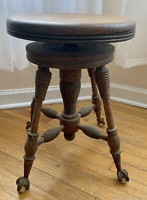 Antique Claw Foot Round Piano Stool Glass Ball Iron Feet Oak Wood