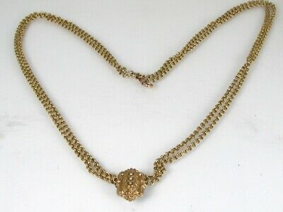 """Antique Victorian Gold Filled Chain Slide Charm Watch Fob Necklace 39.6g 24""""L"""