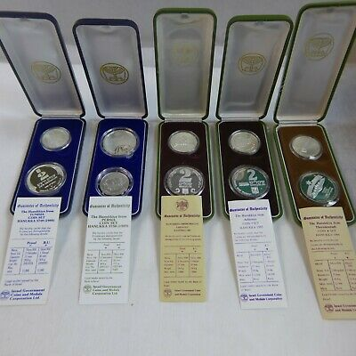 1982 Israel Hanukka From Yemen 2 Coin Silver Proof /& UNC Set with Box and COA