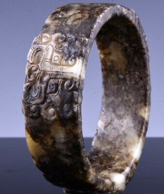 Fine & Rare Chinese Ming Dynasty Carved Jade Dragon Mask Bangle Bracelet Bi Disc