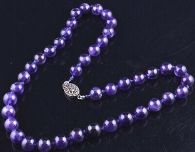 Very Fine Antique Chinese Carved Amethyst Stone Beaded Filigree Silver Necklace
