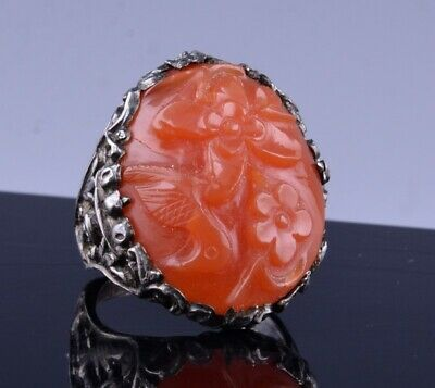 Large Antique Chinese Qing Dynasty Silver & Carnelain Agate Stone Ring