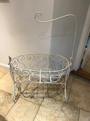 White painted wrought iron Victorian Bassinet/crib