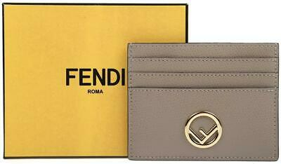 ce099615 NEW FENDI BROWN Ff Red Leather Macro Ff Credit Card Holder Case ...