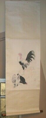 """Vintage 56"""" Chinese Signed Watercolor Hand Painted Wall Scroll-Rooster & Hens"""