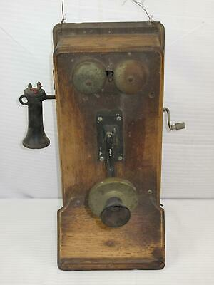 Antique Early 1900's Kellogg Wooden Hand Crank Wall Telephone (670)