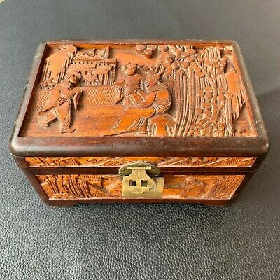 Rare Old Chinese Wooden Carved Picture Jewellery Trinket Box Decorative Art Box