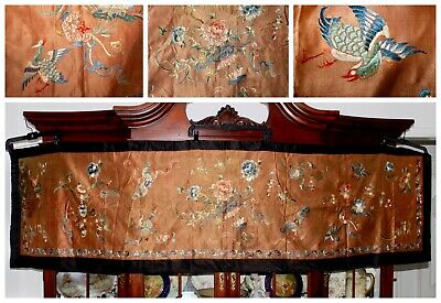 1800's Qing Chinese Hand Embroidered Silk ZEN Buddhist Banner Panel Textile 7'L
