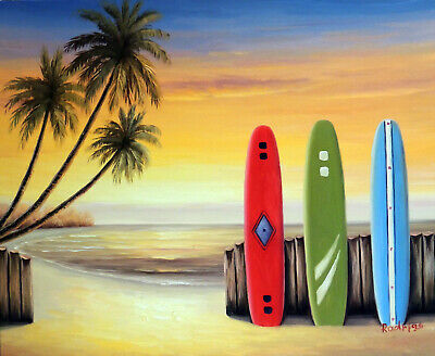 Surfboard Beach Hawaii Sunset Palm Trees Stretched 20X24 Oil On Canvas Painting