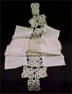 """Vintage Antique Hand Crocheted Lace Scarf Runner Linen Victorian Cutter 74""""L"""