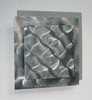 Metal Wall Art Abstract Modern Etched Silver Hanging Square Sculpture Jon Allen