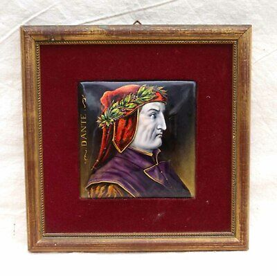 Dante Portrait French Framed Enameled Painting Limoges 19 th Century