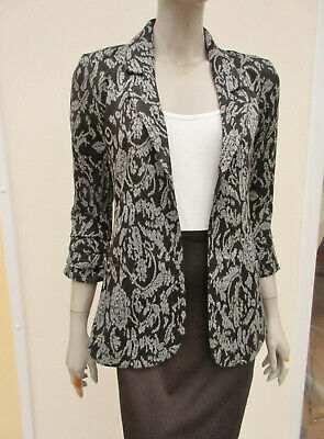 Next - Womens Black / Grey Patterned Lightweight 3/4 Sleeve Jacket - size 10