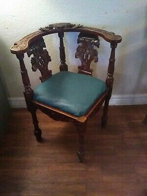 Corner Chair Maria Vintage Solid Mahogany Handcrafted from Indonesia