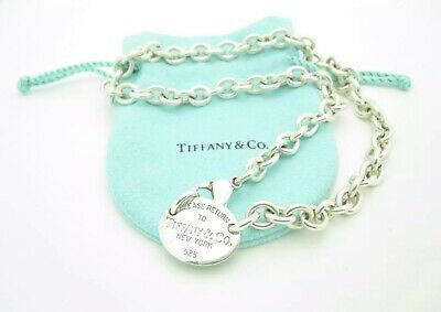 """Please Return To Tiffany & Co. Silver Oval Tag Choker Chain Link Necklace 15"""""""