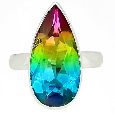 Multi Tourmaline Quartz 925 Sterling Silver Ring Jewelry s.6.5 AR92391