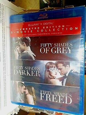 BLU-RAY Fifty Shades 3-Movie Collection Grey Darker Freed Unrated Edition, NEW