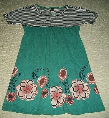 Tea Collection Black/White-striped S/S Teal/Floral Dress - Size 6