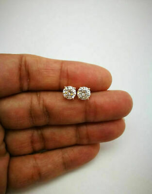 3 Ct Round Cut D/VVS1 Diamond 14k Solid White Gold Over Solitaire Stud Earrings