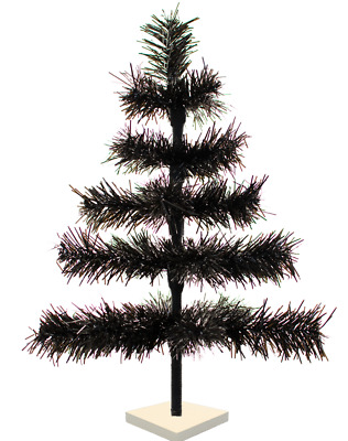 18'' Black Christmas Tree Tinsel Feather Style Holiday Tree 1.5FT Table-Top