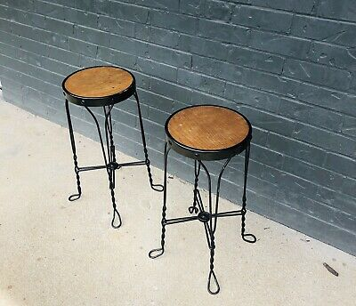 Pierce Ind Antique Wrought Iron Twisted Leg Ice Cream Stools