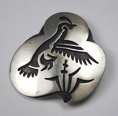 Vintage Sidney Secakuku Sterling Silver Overlay Grouse Pin