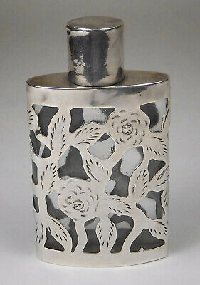 Vintage Mexico Pierced Sterling Silver/ Glass Floral Theme Perfume Bottle