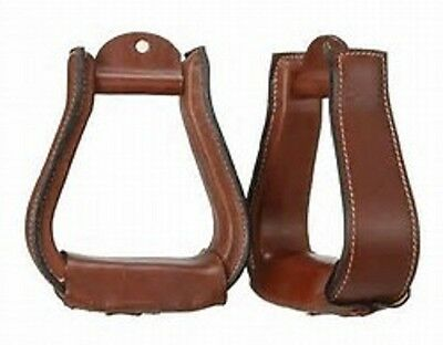 Western Dark Brown Leather Hand Carved Pair of Stirrups with Leather Softy Lined